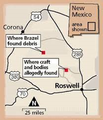 Map showing locations of alleged Roswell UFO debris field and final crash site.