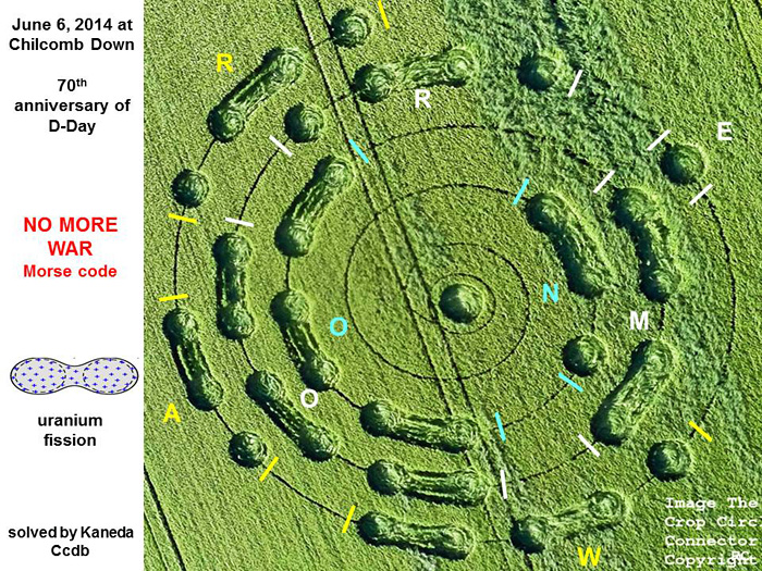 "The message ""No More War"" is encoded in this crop circle."